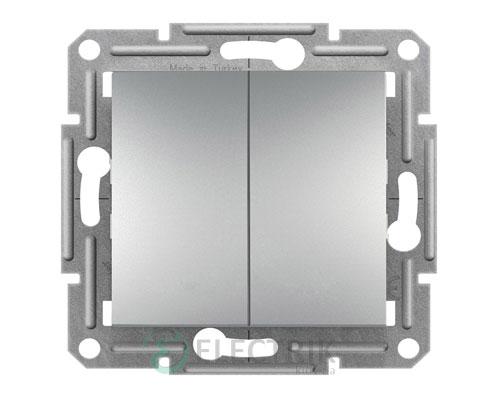Выключатель двухклавишный проходной, алюминий Asfora EPH0600161
