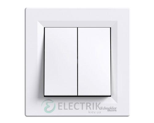 Выключатель двухклавишный проходной, белый, Asfora EPH0600121