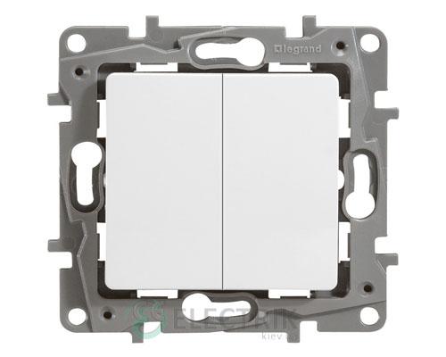 Выключатель 2-клавишный проходной, белый Legrand Etika