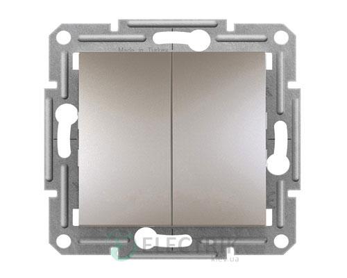 Выключатель двухклавишный проходной, бронза, Asfora EPH0600169