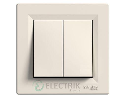 Выключатель двухклавишный проходной, крем, Asfora EPH0600123