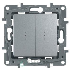 Выключатель 2-клавишный проходной с подсветкой, алюминий Legrand Etika