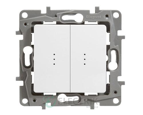 Выключатель 2-клавишный проходной с подсветкой, белый Legrand Etika