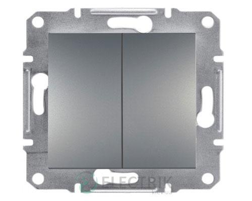 Выключатель двухклавишный проходной, сталь, Asfora EPH0600162