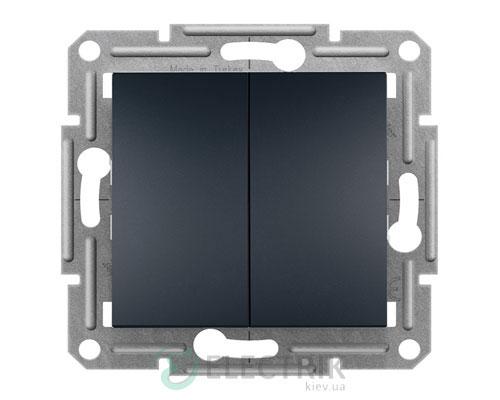Выключатель двухклавишный проходной, антрацит Asfora EPH0600171