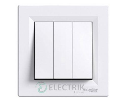 Выключатель трехклавишный, белый, Asfora EPH2100121