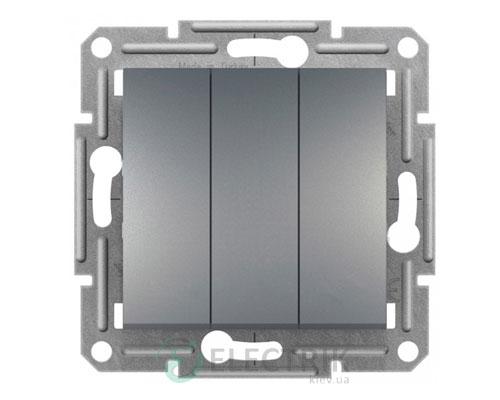 Выключатель трехклавишный, сталь, Asfora EPH2100162