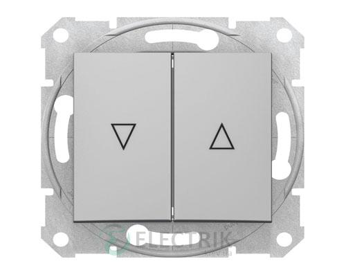 Выключатель для жалюзи с электрической блокировкой, алюминий, Sedna SDN1300160