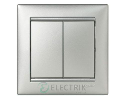 Выключатель двухклавишный проходной Legrand Valena 10А 770108 (алюминий)