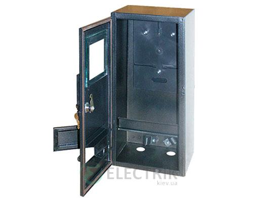 Корпус e.mbox.stand.n.f1.6.z.str металлический, под 1-ф. счётчик, пустой, навесной, 6 мод.,з замком, уличный