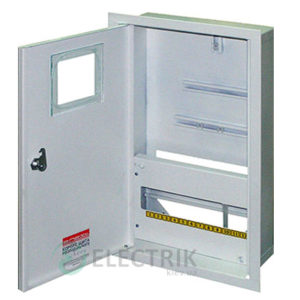 Корпус e.mbox.stand.w.f3.12.z.e металлический, под 3-ф. электронный счётчик, 12 мод., встраиваемый, с замком
