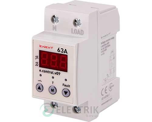 Реле контроля напряжения однофазное 63А c индикацией e.control.v09