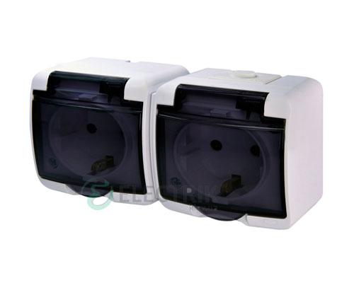 Розетка двойная с з/к ETI HERMETICS RHE-2sd Белый с дымчатой (прозрачной) крышкой