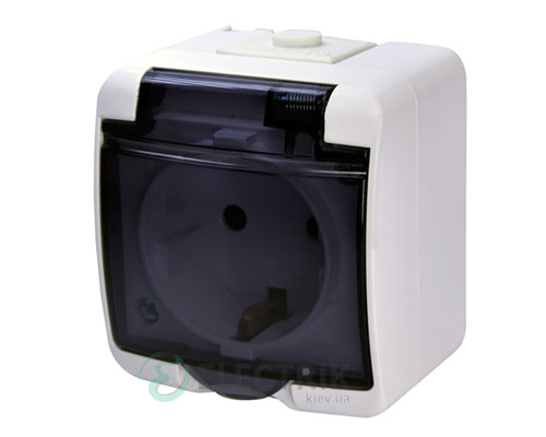 Розетка одинарная с з/к ETI HERMETICS RHE-1sd Белый с дымчатой (прозрачной) крышкой