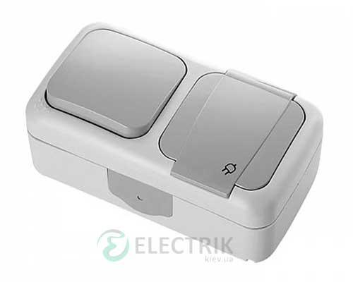 Розетка+выключатель 1-клавишный VIKO Palmiye серый