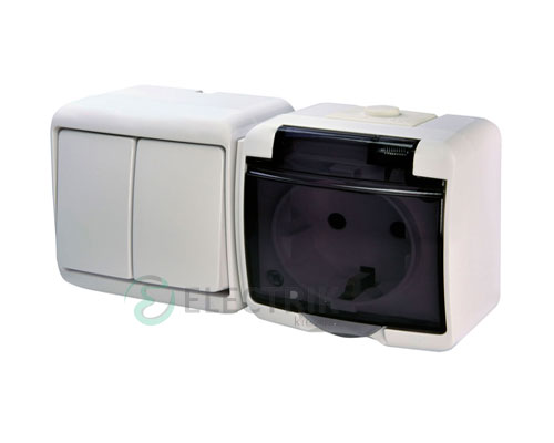 Розетка+выключатель двухклавишный ETI HERMETICS VRHH-2sd Белый