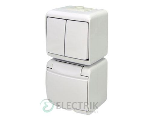 Розетка+выключатель двухклавишный ETI HERMETICS VRHP-2s Белый