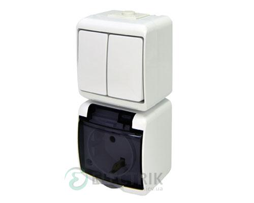 Розетка+выключатель двухклавишный ETI HERMETICS VRHP-2sd Белый