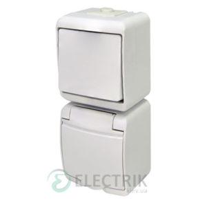 Розетка+выключатель одноклавишный ETI HERMETICS VRHP-1s Белый