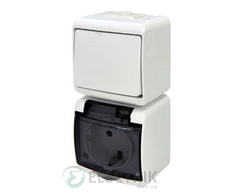 Розетка+выключатель одноклавишный ETI HERMETICS VRHP-1sd Белый
