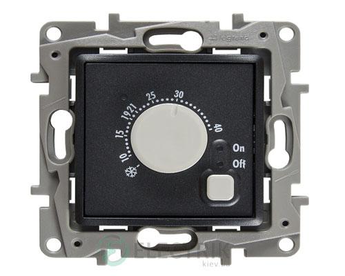 Терморегулятор с датчиком для теплого пола, антрацит Legrand Etika