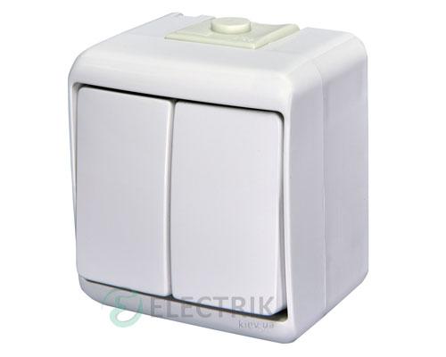 Выключатель двухклавишный с подсветкой ETI HERMETICS VHE-2L Белый