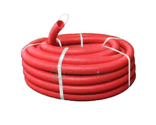 Труба ПНД гибкая гофр. д.16мм, тяжёлая с протяжкой, цвет красный 11516 ДКС