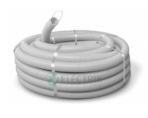 Труба ПВХ гибкая гофр. д.40мм, тяжёлая с протяжкой, цвет серый 91540 ДКС