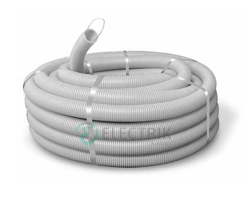 Труба ПВХ гибкая гофр. д.50мм, тяжёлая с протяжкой, цвет серый 91550 ДКС