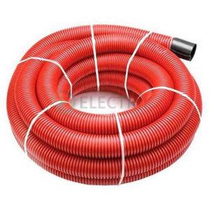 Двустенная труба ПНД гибкая для кабельной канализации д.125мм с протяжкой и муфтой, SN8, в бухте 40м, цвет красный, 121912, ДКС