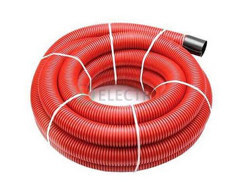 Двустенная труба ПНД гибкая для кабельной канализации д.50мм с протяжкой и муфтой, SN13, в бухте 150м, цвет красный, 121950150, ДКС
