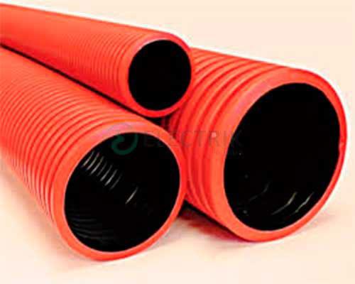 Двустенная труба ПНД жесткая для кабельной канализации д.125мм, SN10, 6м, в комплекте с муфтой, цвет красный, 160912, ДКС