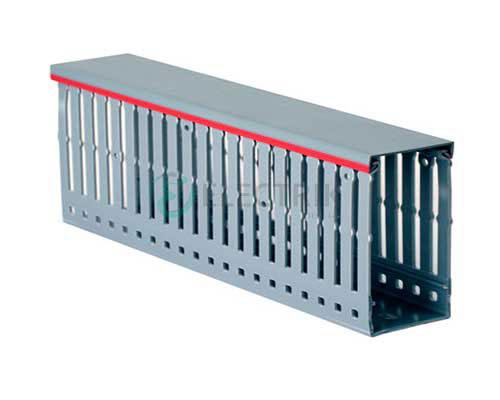 Перфорированный короб 80х60, шаг 20 мм, перфорация 8 мм, длина 2 м, серый 00139