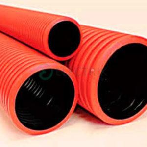 Жесткие двустенные гофрированные трубы из полиэтилена, (6 кПа), д200мм, цвет красный, с муфтой, 160920-6К, ДКС