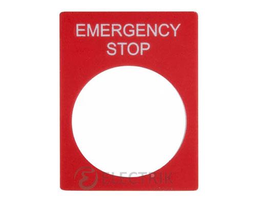 Бирка маркировочная «EMERGENCY STOP» красная для кнопок ∅22 мм, АСКО-УКРЕМ