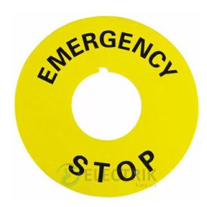 Бирка маркировочная «EMERGENCY STOP» желтая для кнопок ∅22 мм, АСКО-УКРЕМ