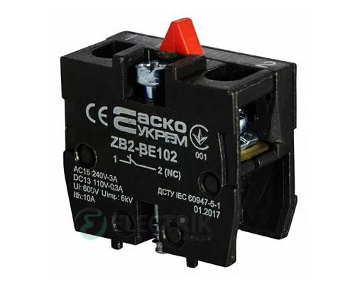Дополнительный контакт ZB2-BE102 (НО) для кнопочных постов, АСКО-УКРЕМ