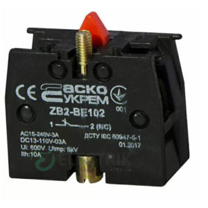Дополнительный контакт ZB2-BE102 (НЗ) для кнопок, АСКО-УКРЕМ