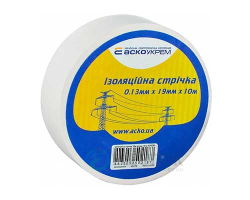 Изолента АСКО-УКРЕМ ПВХ 0,13мм*19мм/10м белая