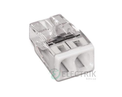 Клемма COMPACT PUSH WIRE 2-проводная 0,5-2,5 мм² прозрачная/белая без пасты, WAGO (Германия)