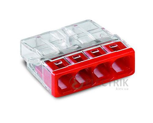Клемма COMPACT PUSH WIRE 4-проводная 0,5-2,5 мм² прозрачная/красная без пасты, WAGO (Германия)