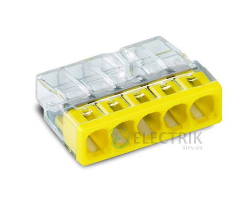 Клемма COMPACT PUSH WIRE 5-проводная 0,5-2,5 мм² прозрачная/желтая без пасты, WAGO (Германия)