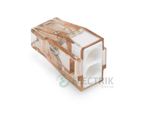 Клемма PUSH WIRE 2-проводная 1,5-4,0 мм² прозрачная/белая без пасты, WAGO (Германия)