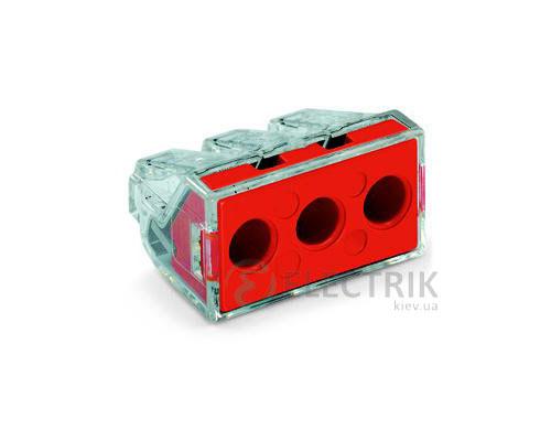 Клемма PUSH WIRE 3-проводная 2,5-6,0 мм² прозрачная/красная без пасты, WAGO (Германия)