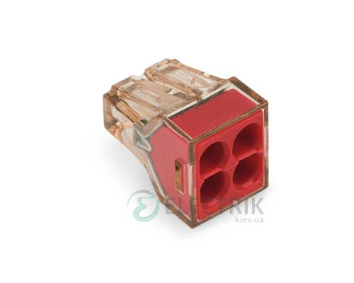 Клемма PUSH WIRE 4-проводная 1,5-4,0 мм² прозрачная/красная без пасты, WAGO (Германия)