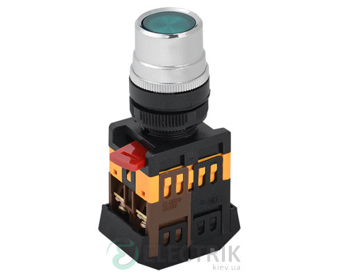 Кнопка ABLF-22 неон d22 мм зеленая 240В 1з+1р, IEK
