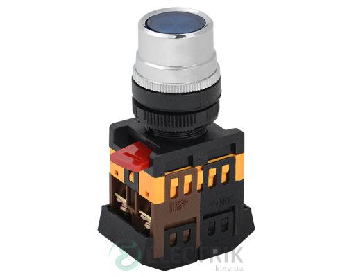 Кнопка ABLF-22 неон d22 мм синяя 240В 1з+1р, IEK