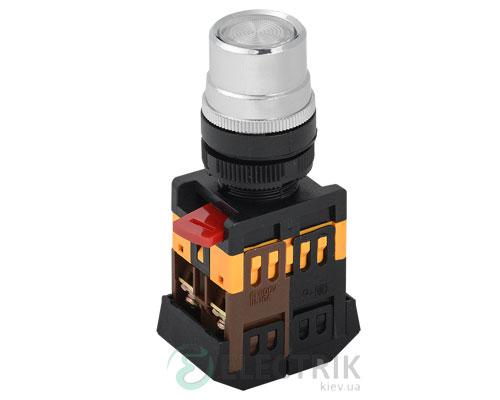 Кнопка ABLFP-22 неон d22 мм прозрачная 240В 1з+1р, IEK