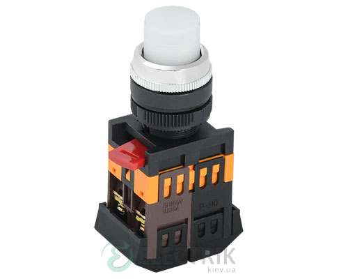 Кнопка ABLFP-22 неон d22 мм белая 240В 1з+1р, IEK