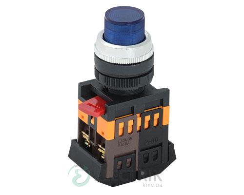 Кнопка ABLFP-22 неон d22 мм синяя 240В 1з+1р, IEK